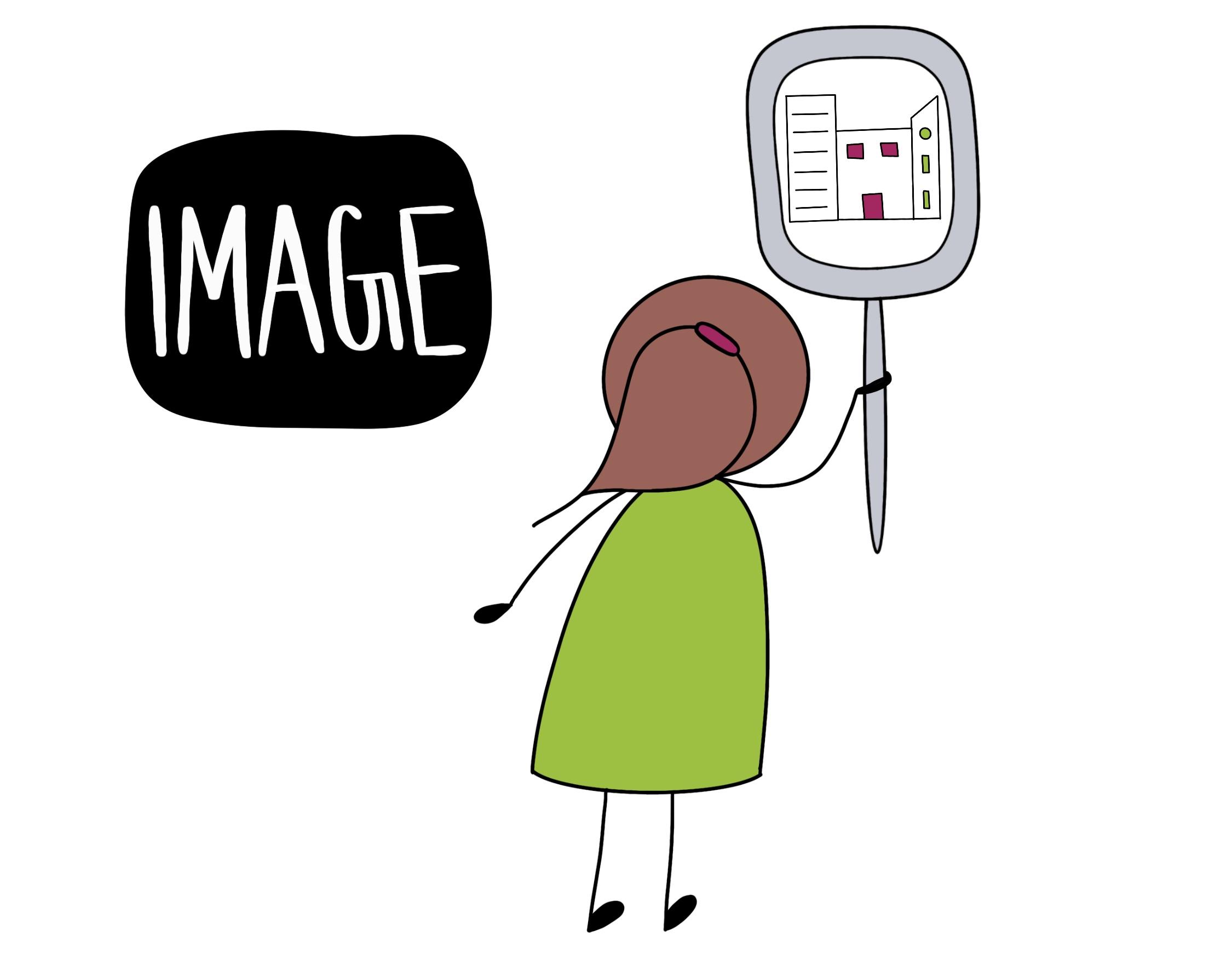 Sketchnote mit Spiegel als Image-Symbol