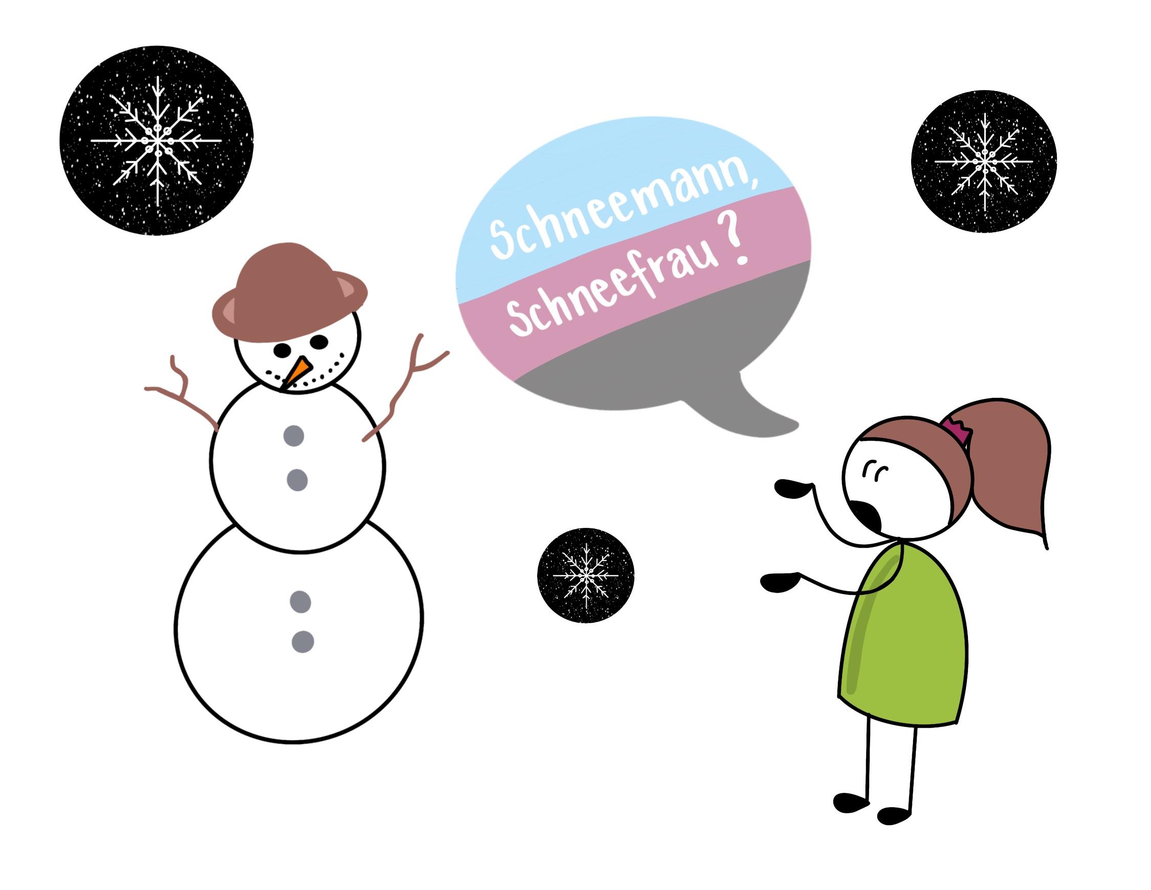 Sketchnote mit Schneemann und Schneeflocken