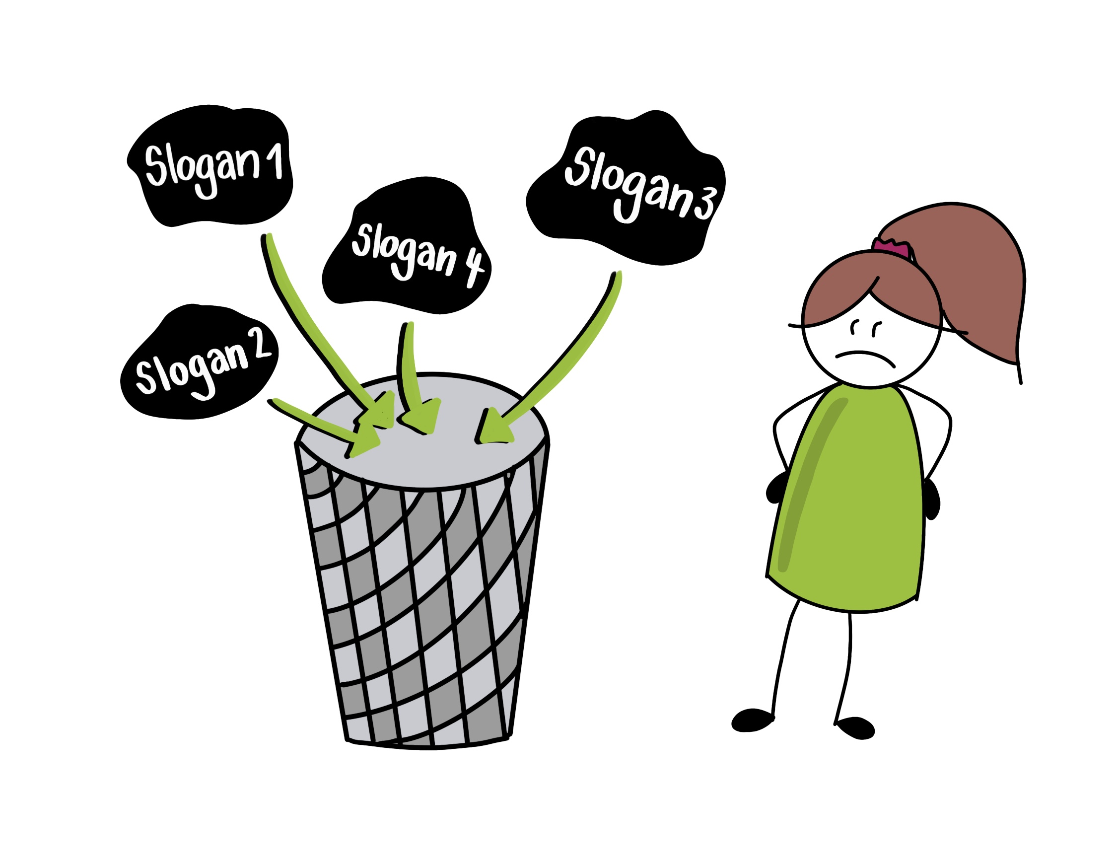 Sketchnote mit Mülleimer für kostenlose Slogans